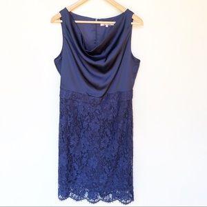 Review Blue Cowl Neck Lace Cocktail Party Dress